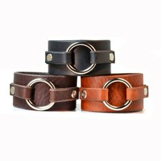 BERLIN Leather Cuff Bracelet with Ring Accent by LeatherElements, $24.95