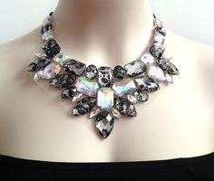 lace and aurora borealis rhinestone bib necklace