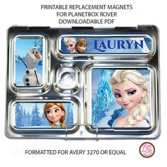 Personalized Replacement Magnets for PlanetBox Rover Lunchbox - printable pdf Frozen