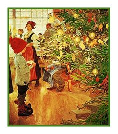 Young Boy Gazing at Christmas Tree by Carl Larsson Holiday Christmas Counted Cross Stitch or Counted Needlepoint Pattern