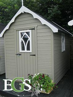 Cottage style garden shed.Boyne garden sheds. High quality garden sheds in Ireland Garden Sheds Ireland, Back Garden Design, Midsummer Nights Dream, Back Gardens, Cottage Style, Gothic, Exterior, Outdoor Structures, Small Houses