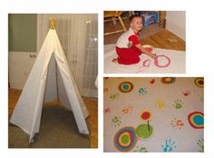 DIY no-sew teepee - perfect for kids playroom. Put blankets and pillows inside :)