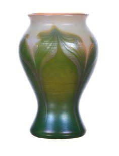 """L.C.TIFFANY-FAVRILE #4472D"" DECORATED ART GLASS VASE"
