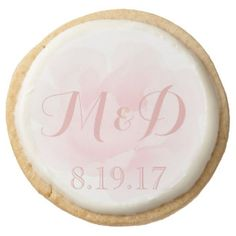 Watercolor Light Pink Peony Wedding Monogram Round Shortbread Cookie
