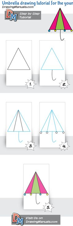 Umbrella drawing tutorial for the youngest Kids love to draw! http://drawingmanuals.com/manual/umbrella-drawing-tutorial-for-the-youngest/