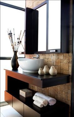 Sandstone cladding works well as a feature wall behind the vanity and mirror in… Sandstone Cladding, Stone Blocks, Trendy Home, Luxury Apartments, Beautiful Bathrooms, Master Bathroom, Vanity, Flooring, Small Bathrooms
