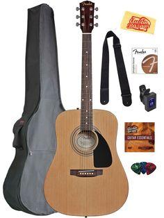 Fender Acoustic Guitar Bundle with Gig Bag, Tuner, Strings, Strap, Picks, Austin Bazaar Instructional DVD, and Polishing Cloth: Musical Instruments