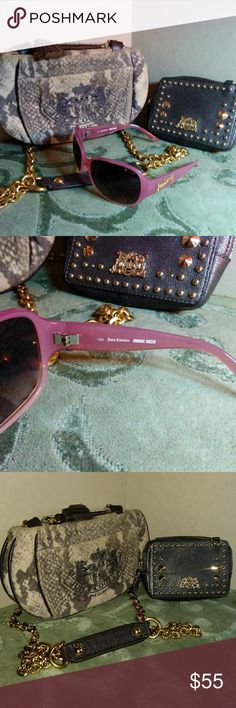 JUICY CULTURE BUNDLE PURSE WALLET SUNGLASSES All pre owned condition lightly used nice has uses areas but all basically in good condition. Juicy Couture Accessories
