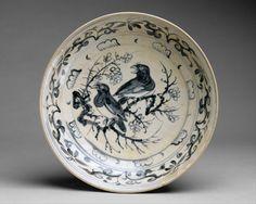 "Dish with ""Magpie""  Date:15th–16th century Culture:Vietnam Medium:Stoneware with cobalt underglaze Dimensions:H. 3 1/8 in. (7.9 cm); Diam. 14 1/8 in. (35.9 cm) Classification:Ceramics Credit Line:Gift of Betty and John R. Menke, 1991 Met1991.456.9"