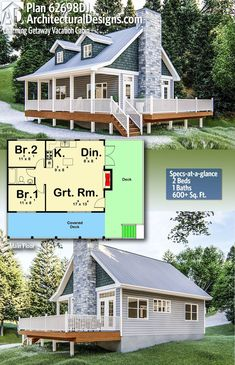 Architectural Designs Cabin Plan gives you 2 bedrooms, 1 bath in sq. Where do YOU want to build? A charming Cottage style cabin plan that is perfect for family getaways. The cabin has 2 bedrooms and a great room that flows into a f Small House Floor Plans, Cabin House Plans, Cabin Floor Plans, Tiny House Cabin, Dream House Plans, Tiny House Design, Cabin Homes, Dream Houses, Tiny Home Plans