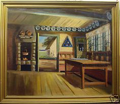 Painting of farmhouse interior
