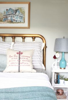 Brass bed // The Inspired Room {Townhouse Guest Room Update}