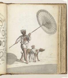 Jan Brandes | Slave with an Indonesian Parasol (pajoeng), Child and Dog, Jan Brandes, 1779 - 1785 | Kleurtekening van een Aziaat met een zonnescherm naast een kind dat de nek van een grote hond omklemt. Onderdeel uit het schetsboek van Jan Brandes, dl. 2 (1808), p. 83