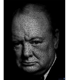 Sir Winston Churchill by Amateur Spanish artist Juan Osborne. He scours speeches, lyrics and books for the words associated with his subjects.