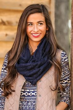 Navy, cable knit infinity scarf! Warm, cozy and stylish! The perfect accessory to complete your look!
