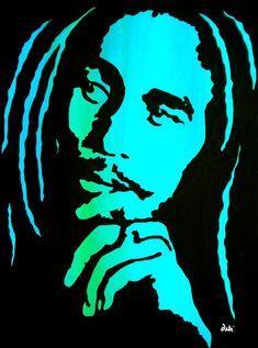 """Bob Marley"" by Debi Starr Bob Marley Dibujo, Bob Marley Kunst, Arte Bob Marley, Rastafari Art, Pop Art, Reggae Art, Nesta Marley, Stencil Templates, Silhouette Art"