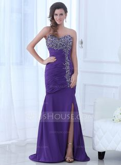 Evening Dresses - $152.99 - Trumpet/Mermaid Sweetheart Sweep Train Chiffon Evening Dress With Ruffle Beading Split Front (017017363) http://jjshouse.com/Trumpet-Mermaid-Sweetheart-Sweep-Train-Chiffon-Evening-Dress-With-Ruffle-Beading-Split-Front-017017363-g17363