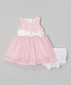 Another great find on #zulily! Pink Eyelet Dress & Diaper Cover - Infant by Nannette #zulilyfinds