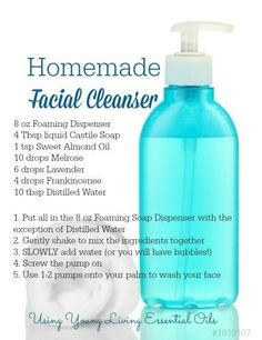 Homemade Facial Cleanser with Essential Oils - Care - Skin care , beauty ideas and skin care tips Homemade Skin Care, Homemade Beauty Products, Diy Skin Care, Homemade Facials, Homemade Face Wash, Facial Cleanser Homemade, Natural Products, Body Products, Homemade Shampoo Recipes