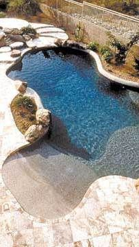 A swimming pool is one of the favorite places to refresh our mind. It is no wonder that people will seek the resort with modern and luxurious swimming pool to spend their vacation. A nice swimming pool design will require . Beach Entry Pool, Backyard Beach, Backyard Paradise, Swimming Pools Backyard, Swimming Pool Designs, Beach Pool, Backyard Landscaping, Zero Entry Pool, Backyard Ideas