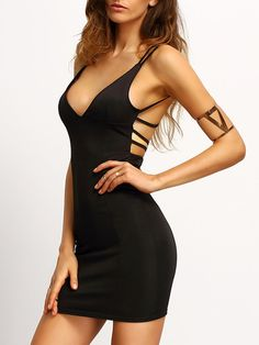Vestido espalda cruzada entallado -negro