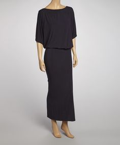 Navy Cape-Sleeve Maxi Dress by American Twist on #zulily today!