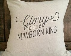 Christmas Pillow Cover,  Glory to the New Born King, Christmas Carol,Christmas Pillow, winter Pillow, Holiday throw pillow decorative pillow