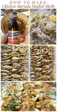 Chicken Marsala Stuffed Shells with Creamy Marsala Sauce. It's everything you love about the classic dish but in delectable stuffed shell-form! Best Chicken Recipes, Great Recipes, Marsala Mushrooms, Marsala Sauce, Stuffed Shells Recipe, Chicken Marsala, Winner Winner Chicken Dinner, Creamy Chicken, Recipes