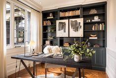 Black bookshelves in the office