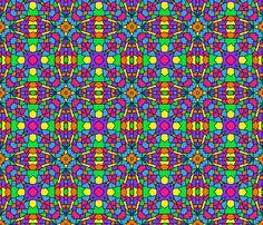 Rainbow Mosaic Kaleidoscope Pattern fabric by decamp_studios on Spoonflower - custom fabric