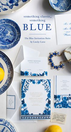 Blue | Lucky Luxe Couture Correspondence |  The Blue watercolor and foil wedding invitation suite is inspired by a mix of cultures in our favorite classic, bold color palette: the cobalt blue and crisp white Asian patterns of our mothers' Blue Willow porcelain china, the vibrant shades of Mykonos, and classic floral Delftware with a simple foil stamped or ink text design that dances with the complexity of patterns. Click here to see the suite!