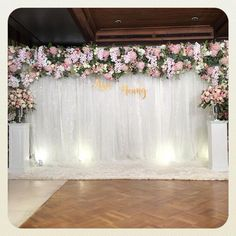 Simple Stage Decorations, Church Wedding Decorations, Engagement Decorations, Backdrop Decorations, Backdrops, Flower Wall Wedding, Wedding Fabric, Diy Wedding, Wedding Backdrop Design