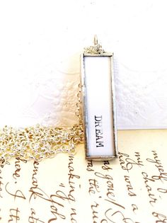 DREAM Necklace Soldered Glass Charm Typewriter by Mystarrrs