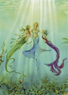 Sisters Of The Sea - Three mermaids bask underwater in the rays of the sun on Etsy, $18.00