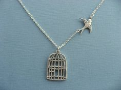 Necklace Be Free Bird Necklace Cage pendant Bird by DevinMichaels, $18.50