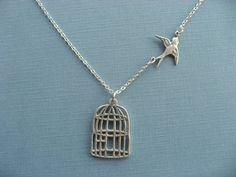 Be Free Sparrow Necklace silver bird cage von DevinMichaels auf Etsy, $18,50