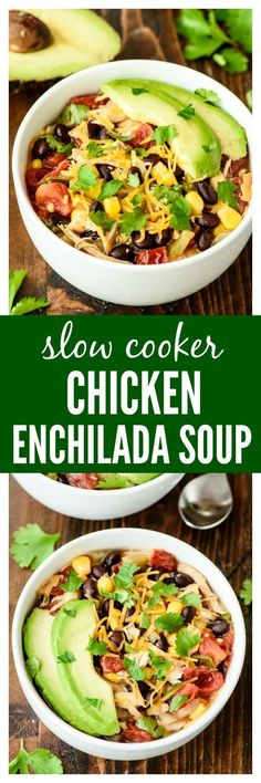 Slow Cooker Chicken Enchilada Soup — Easy, cheesy and healthy! This family favorite recipe needs only 10 minutes to prep and is a great freezer meal too!