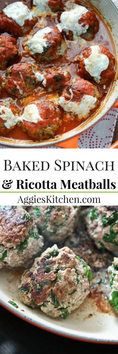 Baked Spinach and Ricotta Meatballs are easy to make and will be a family favorite! Perfect addition to Sunday Supper! Recipe via aggieskitchen.com (Baking Pasta Ricotta)