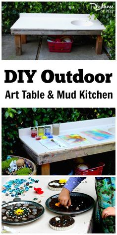 This DIY outdoor art table and mud kitchen is a wonderful play space for any backyard. You can use it for projects of all kinds. It's perfect for doing arts & crafts, making mud pies, gardening with kids, working on STEAM projects, doing sensory activities, and it even works for Montessori practical life activities. Make one for your kids today!
