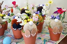 Easter Bunny Flower Pot, Table Decoration, Easter Decor, Ready to Ship!