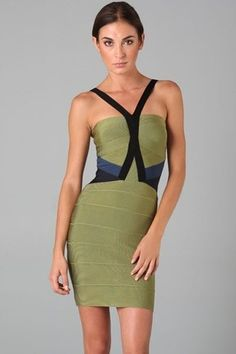 Green V Neck Hollow-out Bandage Dress
