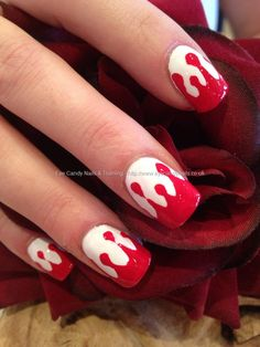 Red and white blood Halloween freehand nail art
