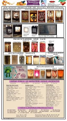 Scentsy NEW PRODUCTS ONLY  for Fall Winter 2014 catalog including Layers, warmers, scents. Scentsy Approved Flyer. Don't alter, ok to share this is 1 page version.