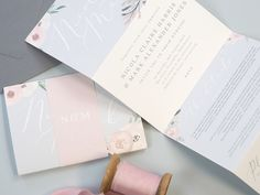 Sneak peek of a gorgeous custom design we worked on last week. Folded four page concertina style invitation with soft pink florals 💕 . Blush And Grey Wedding, Blush Pink Weddings, Luxury Wedding Invitations, Wedding Stationery, Paper Goods, Pretty In Pink, Wedding Styles, Custom Design, Place Card Holders