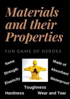 Use these superheroes pictures to explore the properties of materials including strength, elasticity, hardness, toughness, waterproof, feeling, and magnetism. I have included cards which feature heroes made of sand, stone, elastic, plastic, copper, gold, glass, wood, water, sponge, iron, paper, bricks and fire.