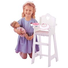 aad7f836a08b9 Badger Basket Gingham Doll High Chair with Plate