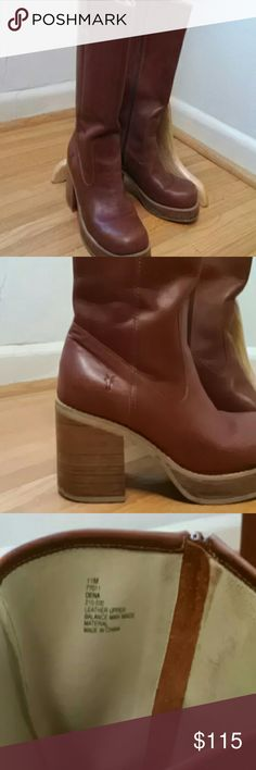 """Leather Frye boots Sz 11 Cognac Amazing Frye boots that will only get better looking. Just don't like the style. 3-1/2""""heel. 1""""platform. 13"""" from instep. Rounded toe. Slight wear on inside bottom of heels. Just from breaking in. Minimal scuffs on toe. Inside full zip. Style Dena. Color cognac. Reddish brown. Frye Shoes Heeled Boots"""
