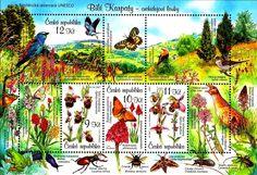 Stamp: Flora and Fauna - MiNo. 525-28 (Czech Republic) (Protection of Nature: White Carpathian Mountains) Mi:CZ BL28,AFA:CZ A529,POF:CZ A525-528