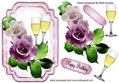 PRETTY LILAC PINK ROSES ON LACE WITH CHAMPAGNE on Craftsuprint designed by Nick Bowley - PRETTY LILAC/PINK ROSES ON LACE WITH CHAMPAGNE, Makes a pretty card - Now available for download!
