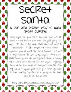 Classroom Freebies: Secret Santa Secret Santa Form, Secret Santa Themes, Secret Santa Rules